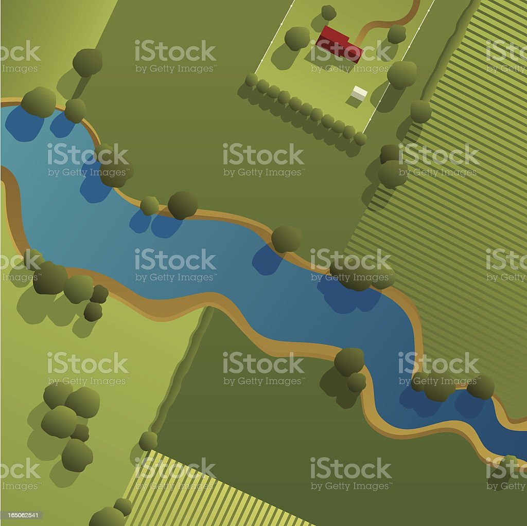 Aerial View of Countryside vector art illustration