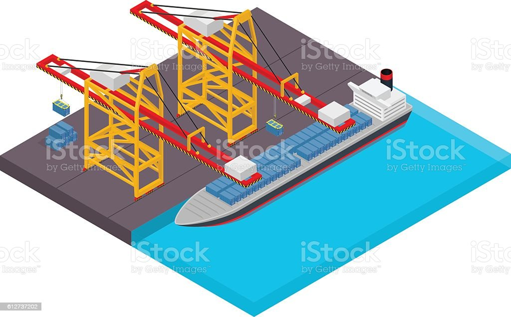 Aerial view of harbor waterfront and maritime terminal with container vector art illustration