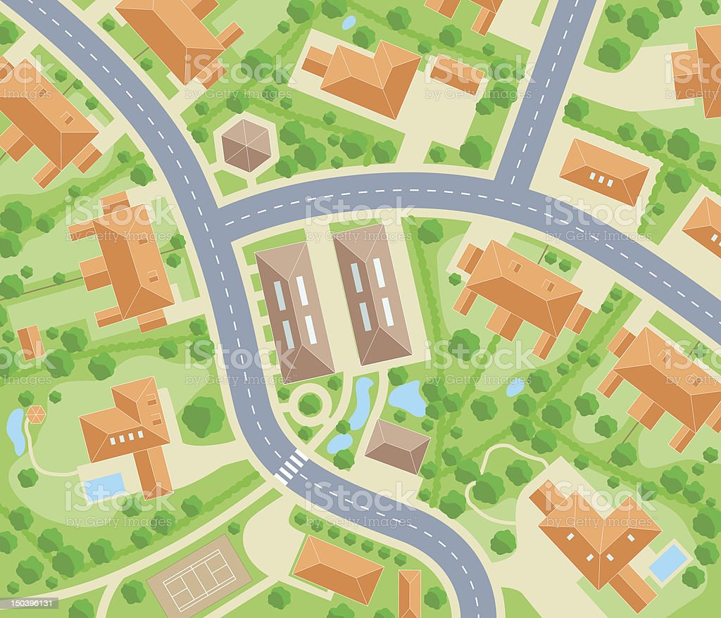 Aerial view of neighborhood roads and houses vector vector art illustration
