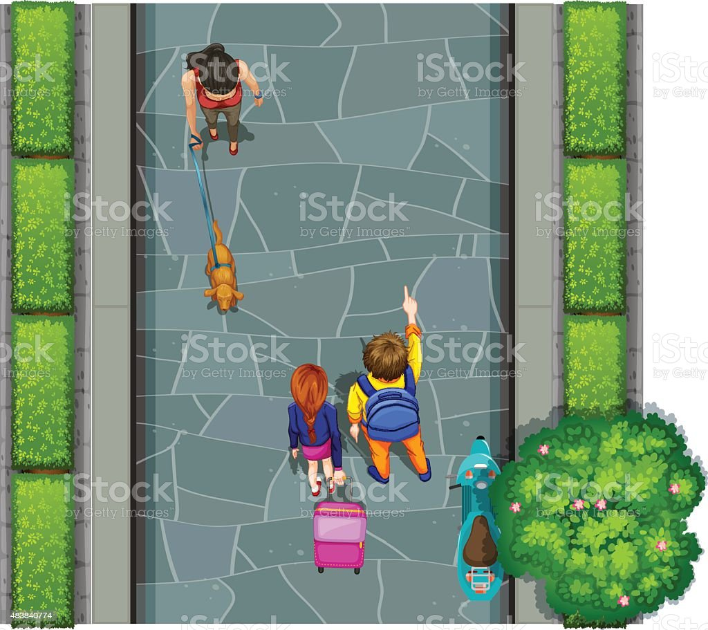 Aerial view of street and people vector art illustration