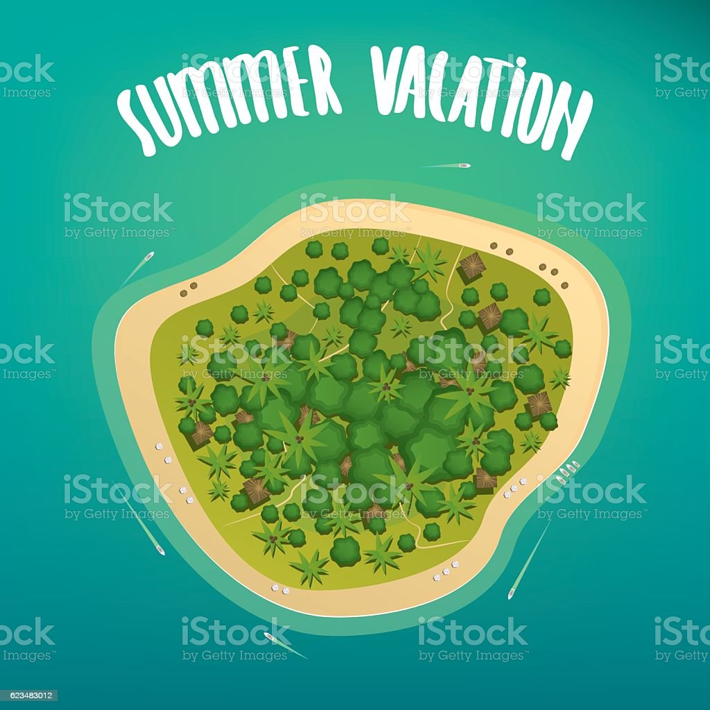 Aerial view of the lonely tropical island vector art illustration
