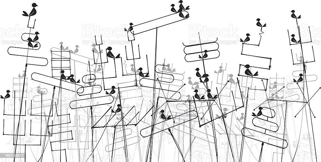 Aerials with Birds vector art illustration