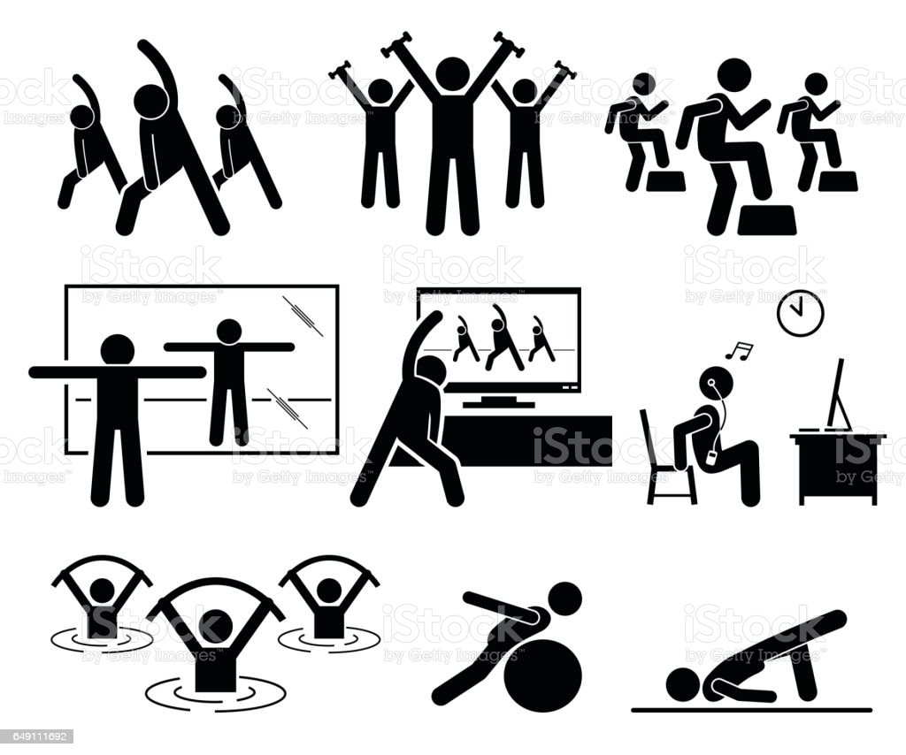 Aerobic class at gym room with instructor. vector art illustration