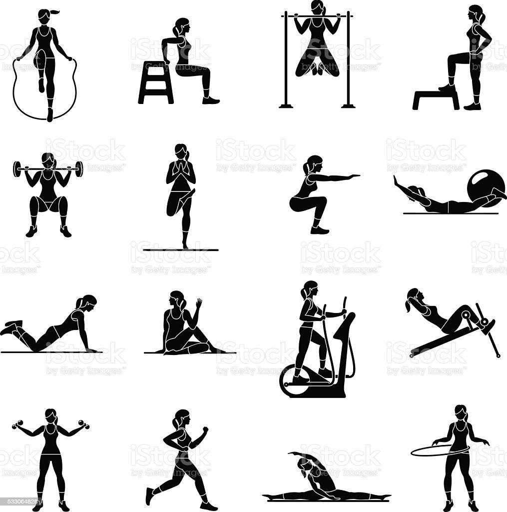Aerobic icons. 4x4. black vector art illustration