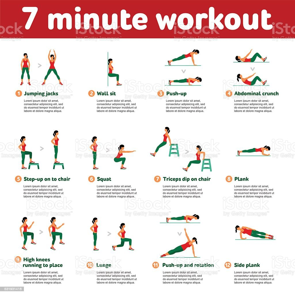 Aerobic icons. 7 minute workout vector art illustration