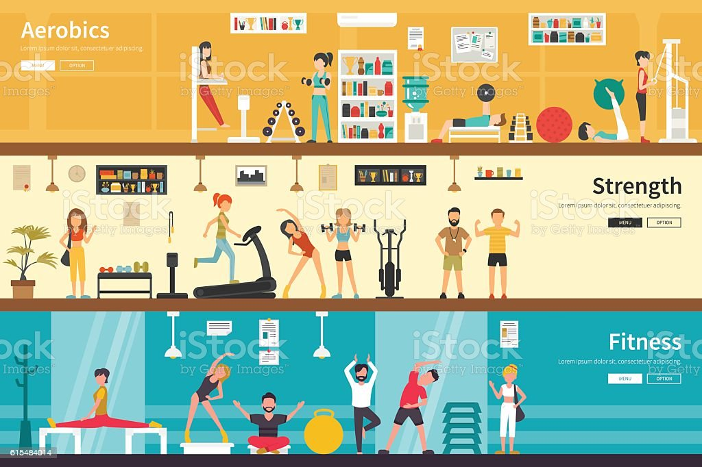 Aerobics Strength Fitness flat interior outdoor concept web vector art illustration