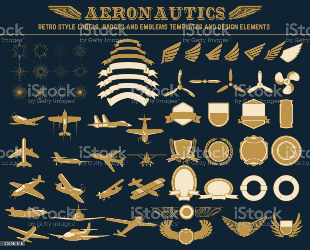 aeronautics labels templates set vector art illustration