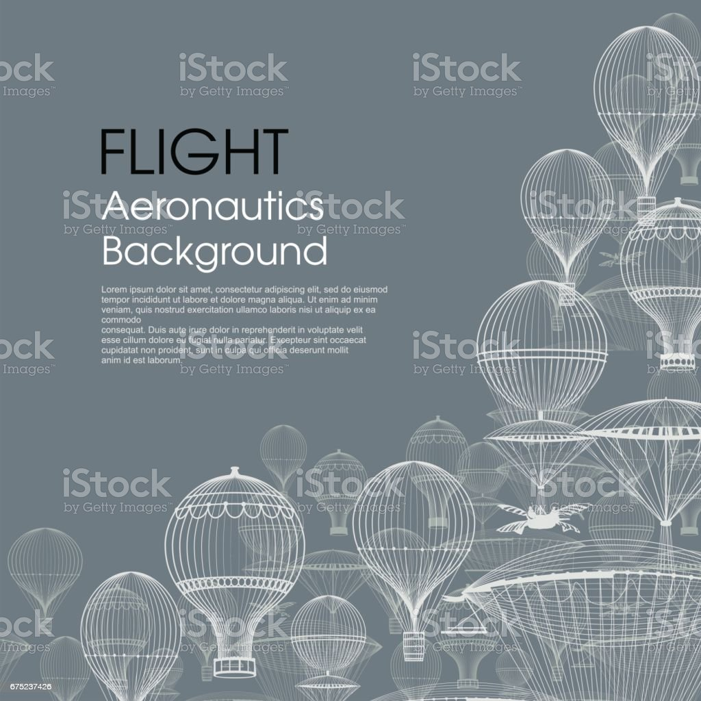 FLIGHT Aeronautics . Vintage hot air balloons floating in the sky. Trendy background. Monochrome in shades of blue vector art illustration