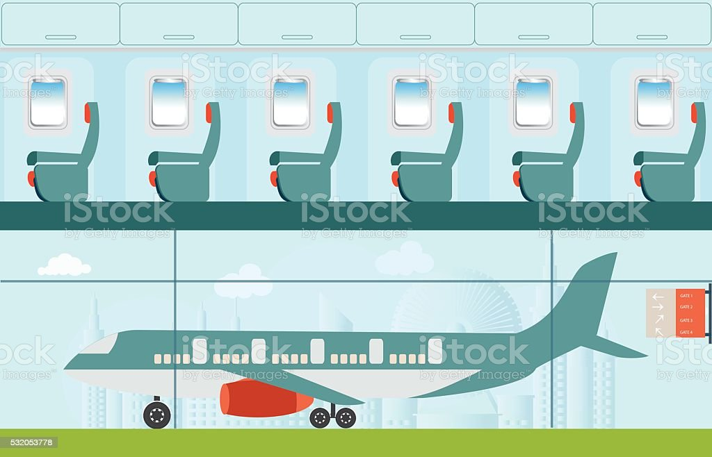 Aeroplane at the airport. vector art illustration