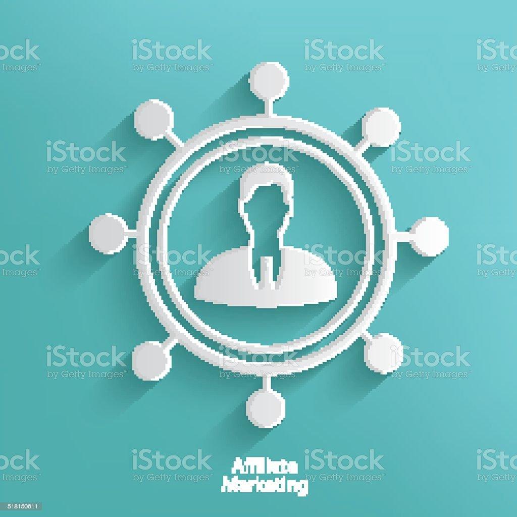 Affiliate marketing symbol on blue background,clean vector vector art illustration