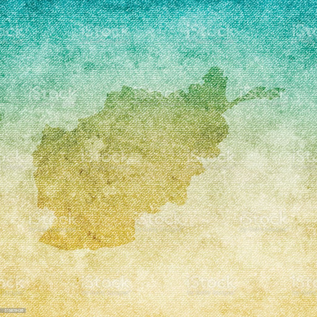 Afghanistan Map on grunge Canvas Background vector art illustration
