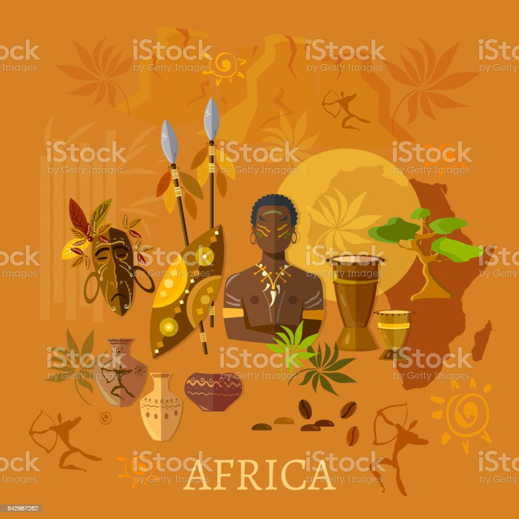 Africa concept african traditions and culture tribes of Africa vector art illustration