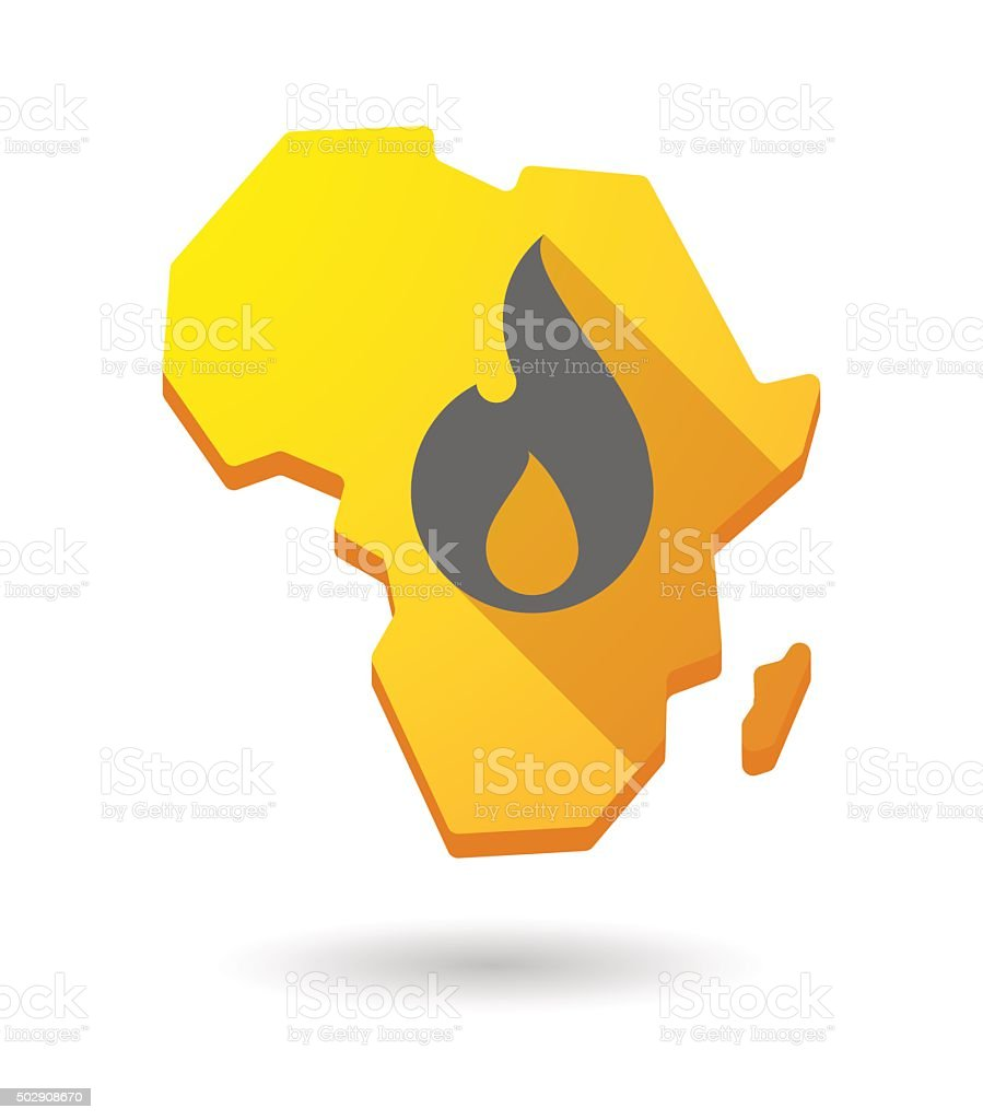 Africa continent map icon with a flame vector art illustration