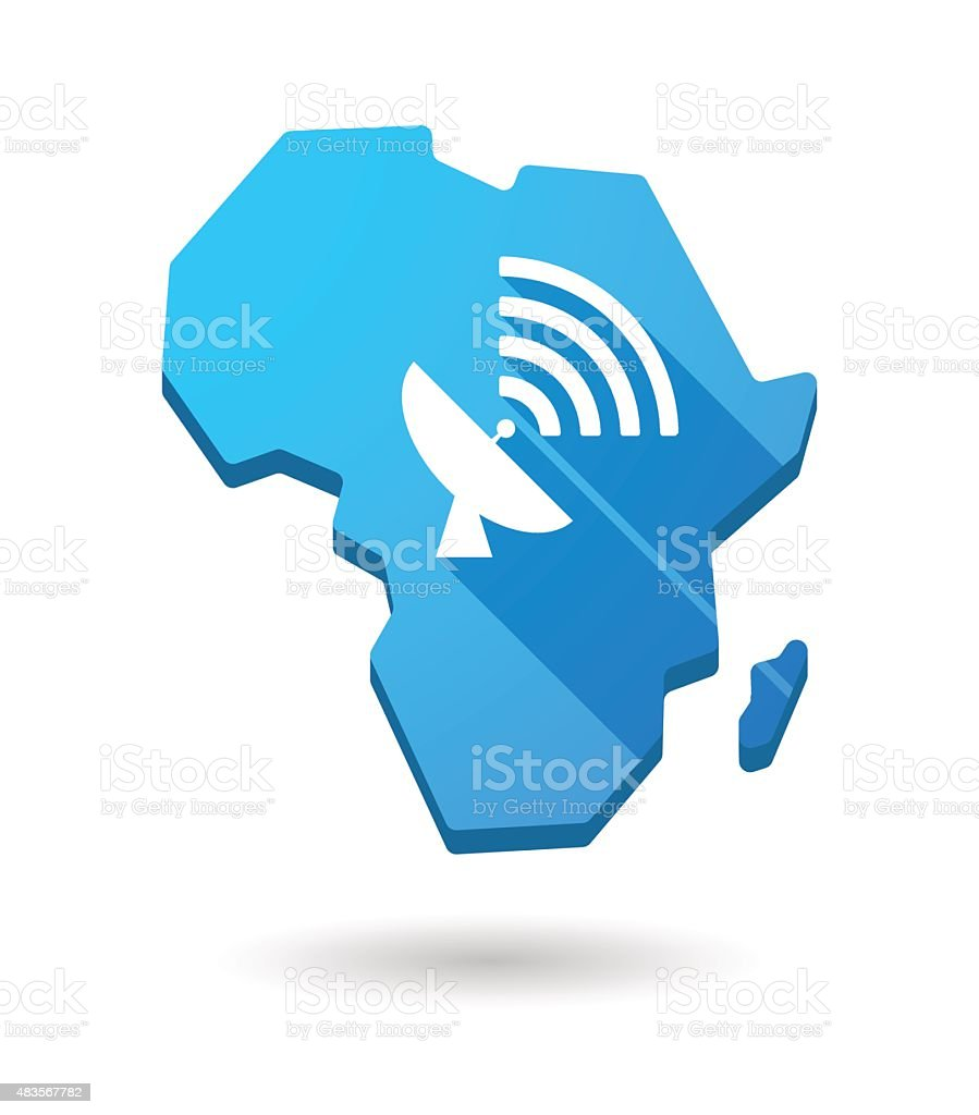 Africa continent map icon with an antenna vector art illustration