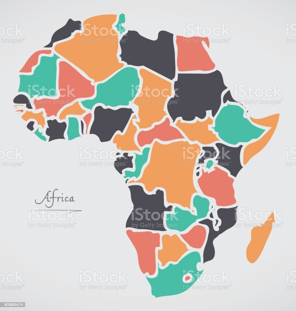 Africa Continent Map with states and modern round shapes vector art illustration