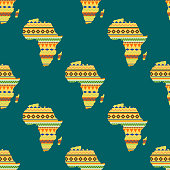 Africa continent seamless pattern vector illustration.