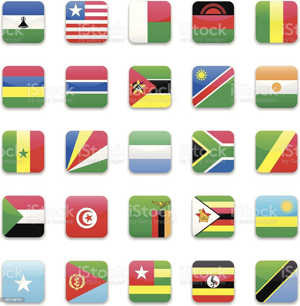 Africa flag icon set vector art illustration