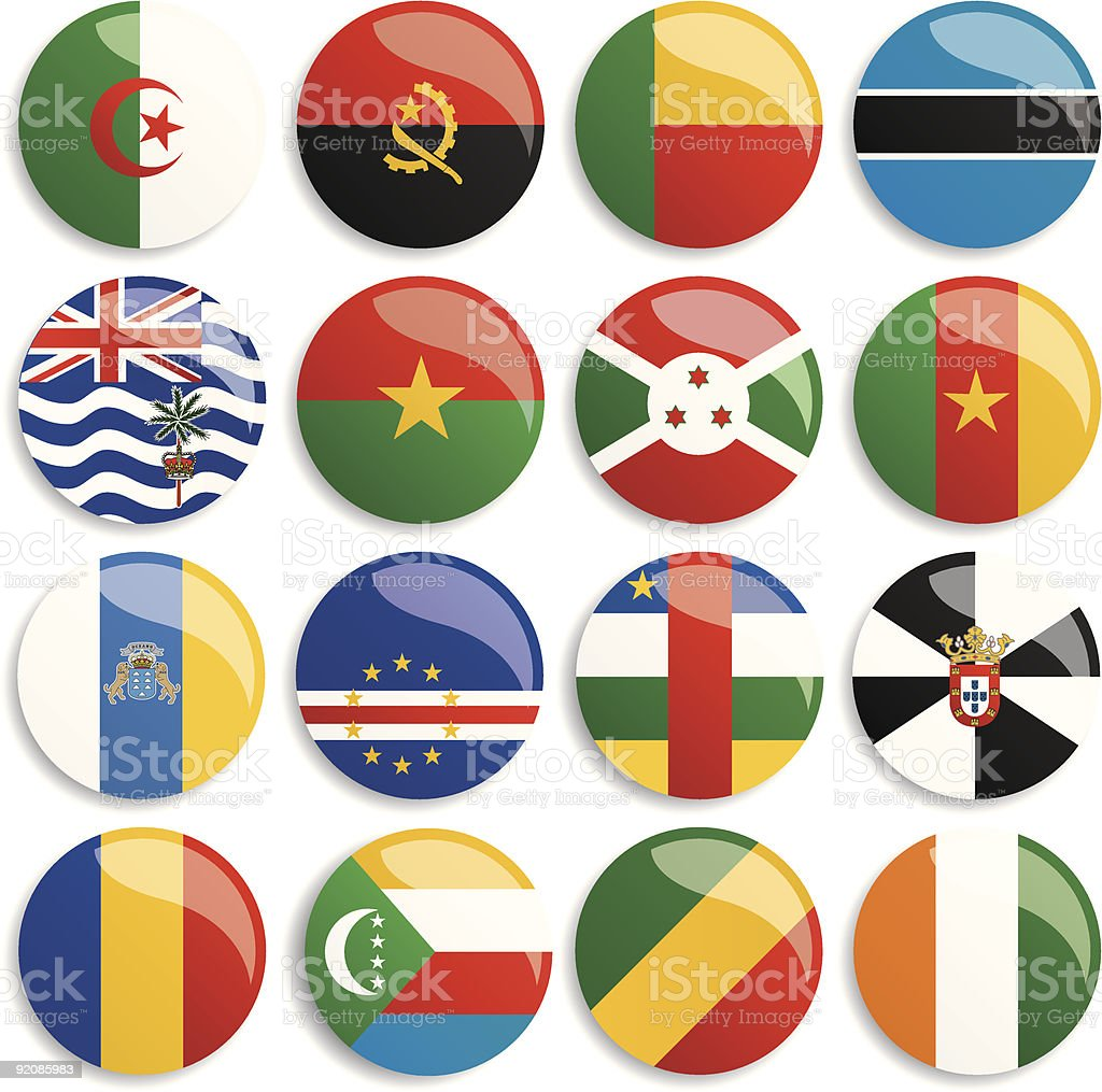 Africa flags buttons royalty-free stock vector art