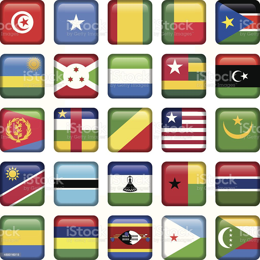 Africa Flags Square Buttons royalty-free stock vector art