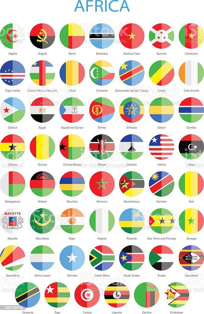 Africa - Flat Round Flags - Illustration vector art illustration