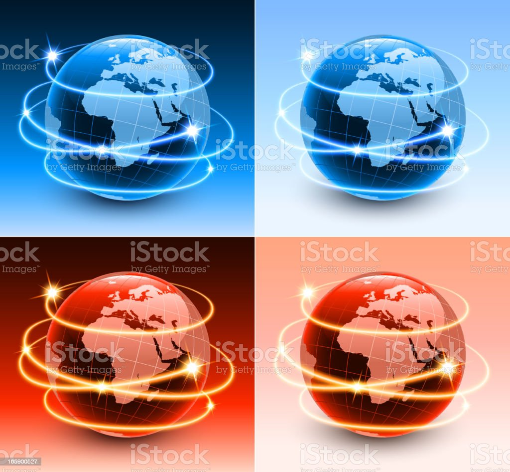 Africa Globe with abstract lights Background vector art illustration