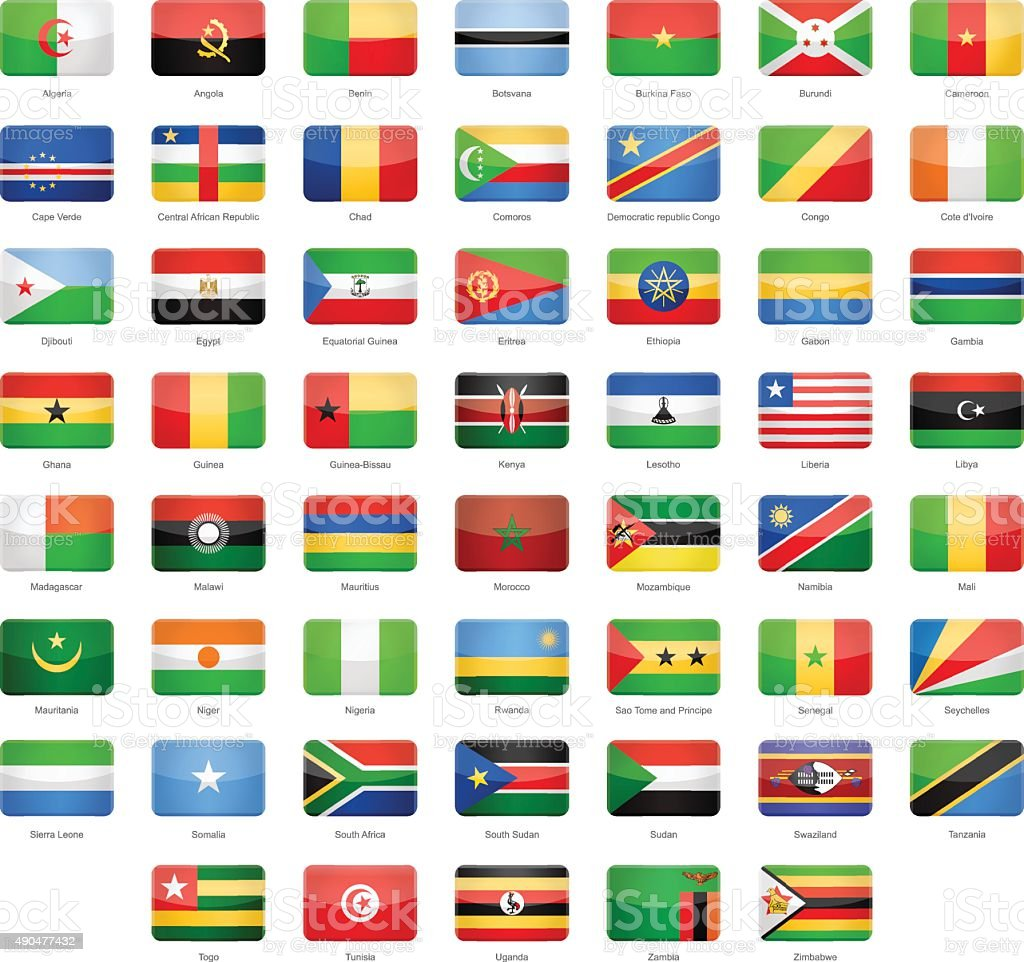 Africa - Glossy Rectangle Flags - Illustration vector art illustration