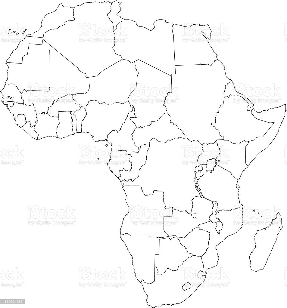 Africa line map royalty-free stock vector art