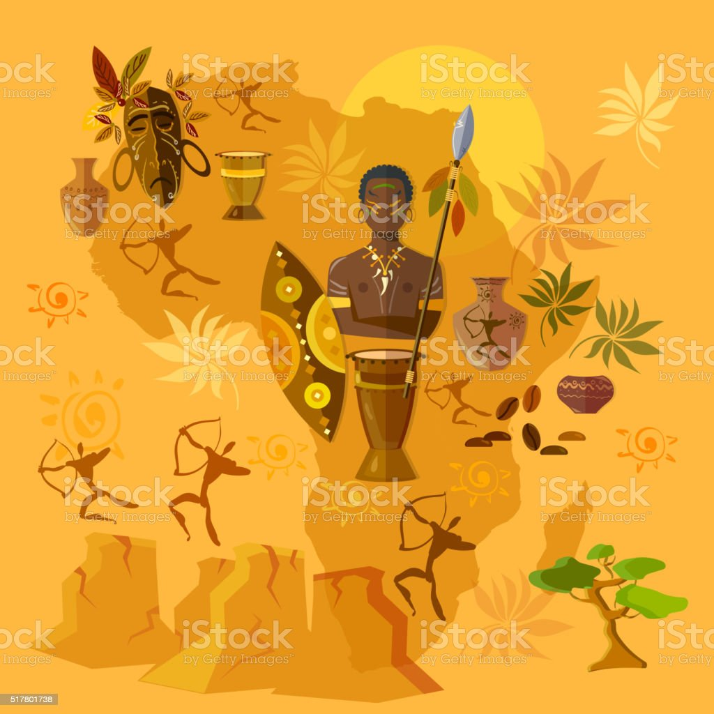 Africa map african tribes culture and history vector art illustration
