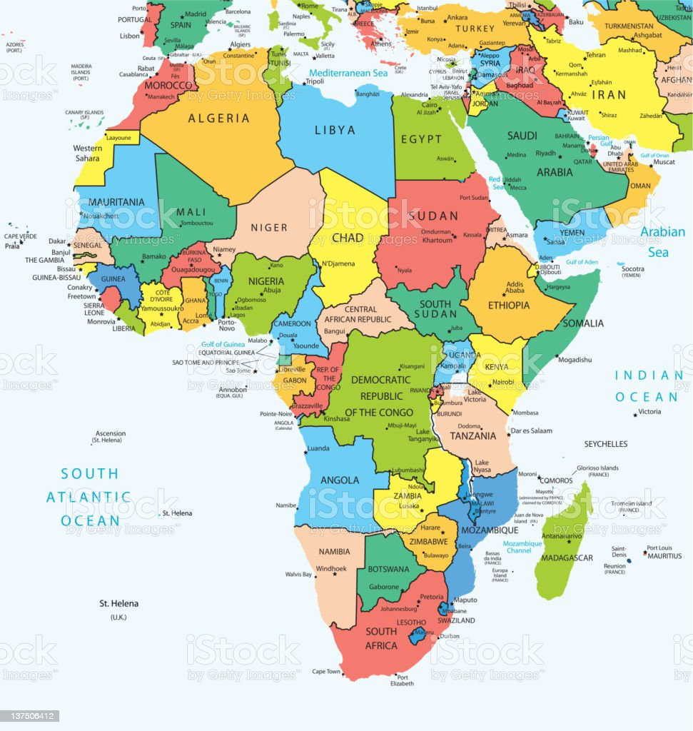 Africa map countries stock photo