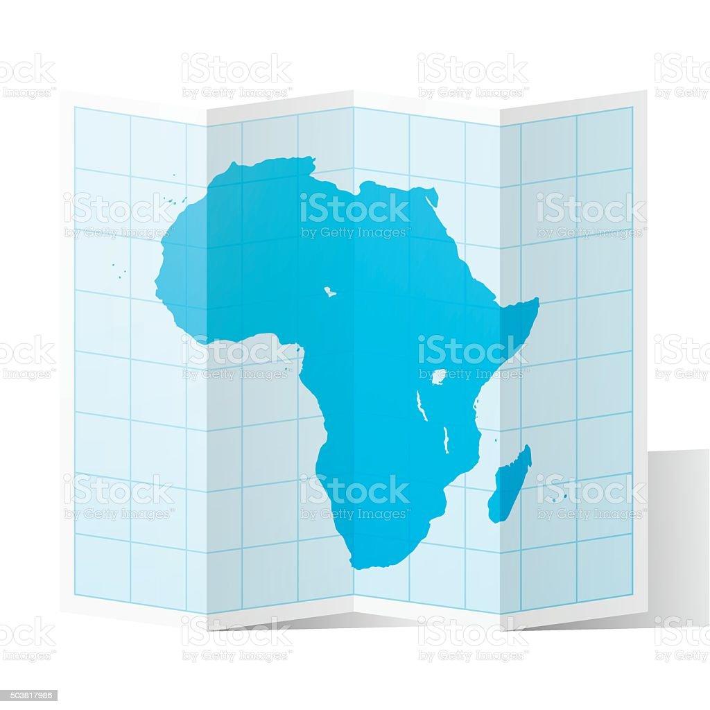 Africa Map folded, isolated on white Background vector art illustration