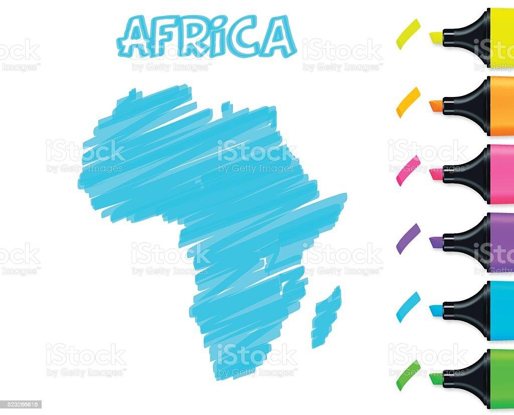 Africa map hand drawn on white background, blue highlighter vector art illustration
