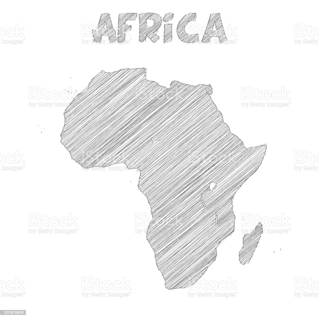 Africa map hand drawn on white background vector art illustration