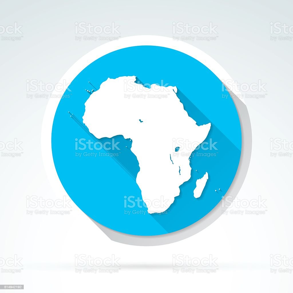Africa map icon, Flat Design, Long Shadow vector art illustration