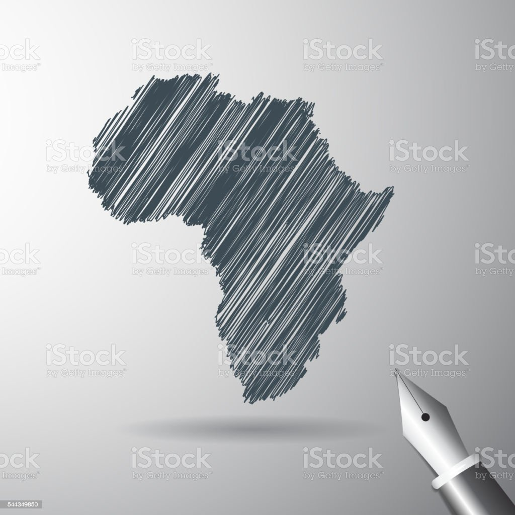 Africa map icon sketch vector art illustration