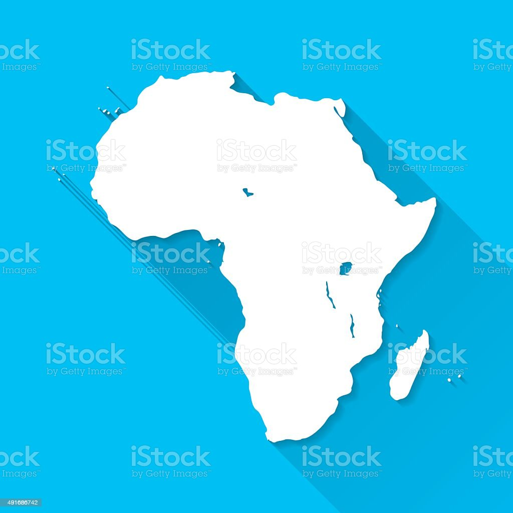 Africa Map on Blue Background, Long Shadow, Flat Design vector art illustration