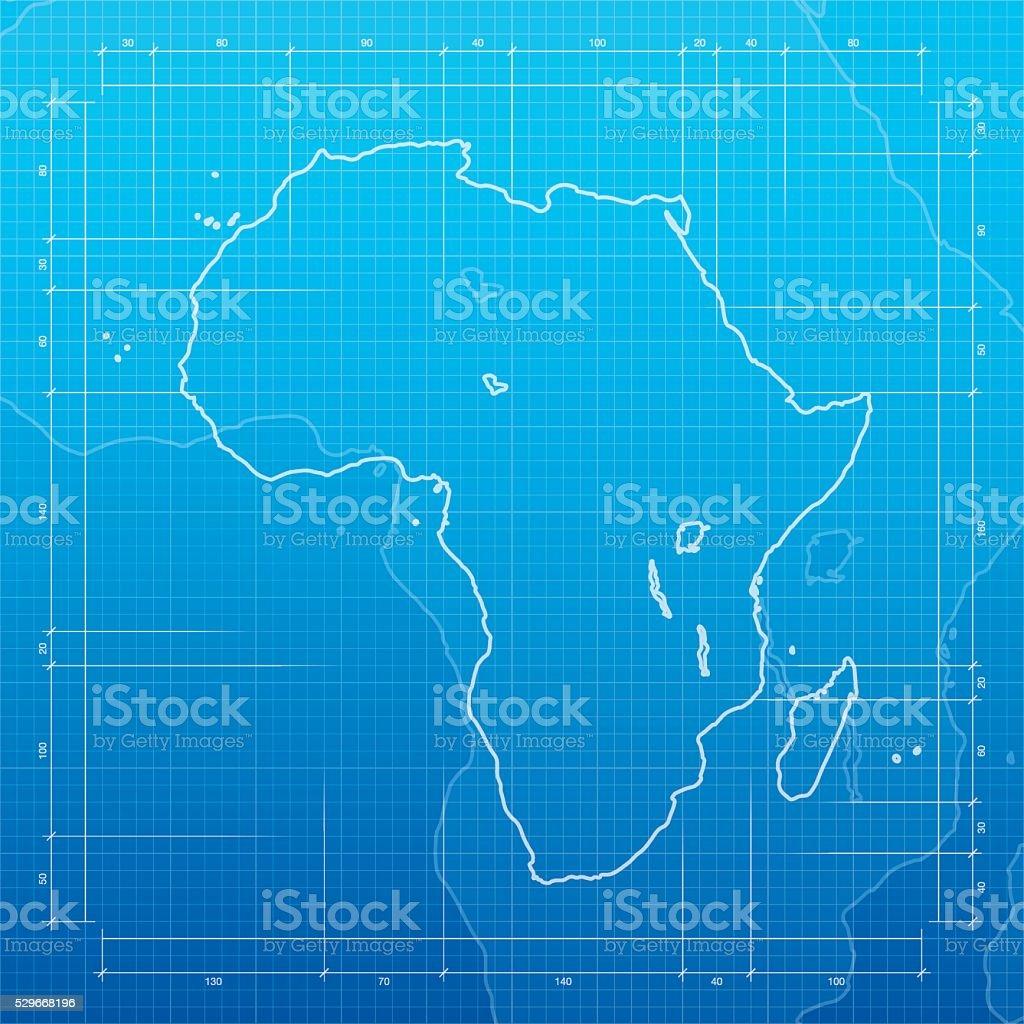 Africa map on blueprint background vector art illustration