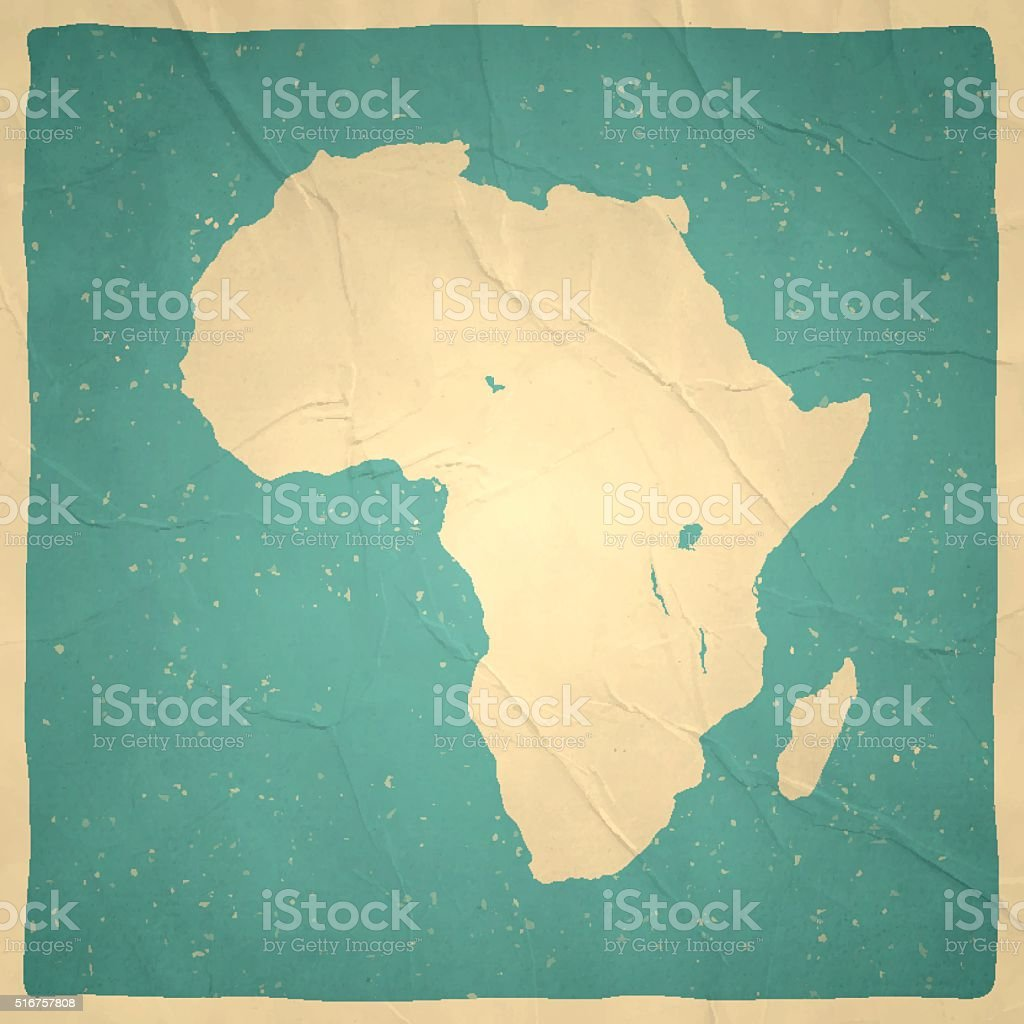 Africa Map on old paper - vintage texture vector art illustration