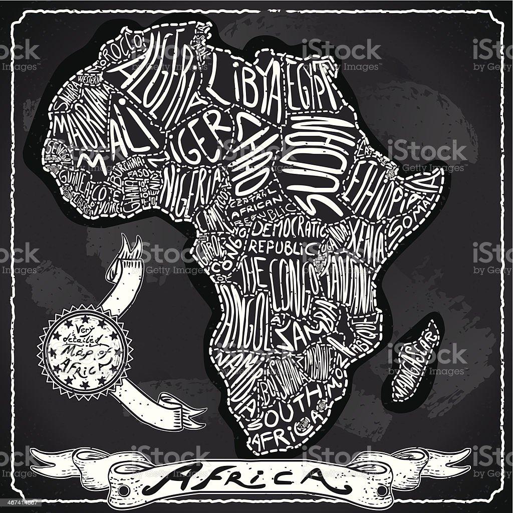 Africa Map on Vintage Handwriting BlackBoard vector art illustration
