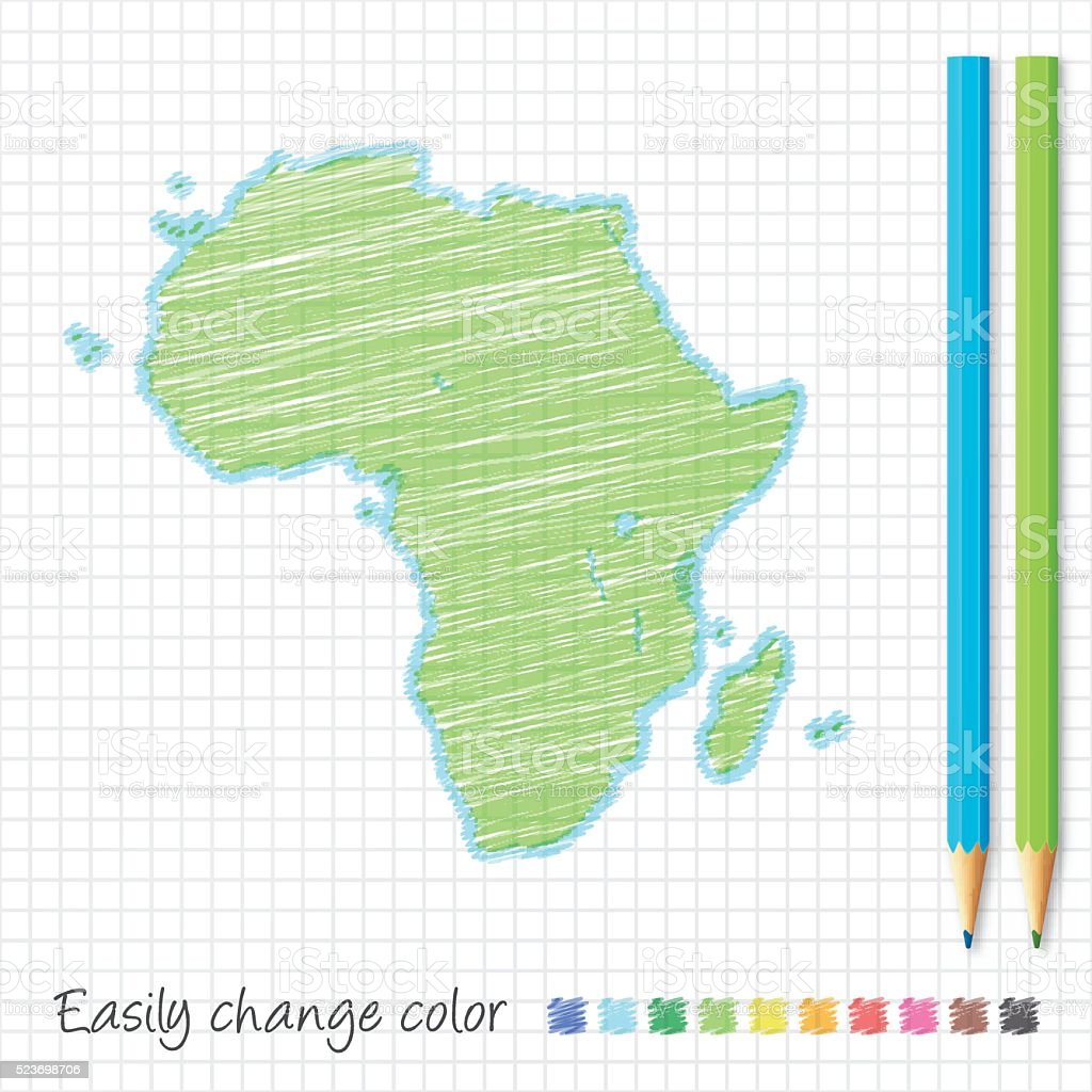 Africa map sketch with color pencils, on grid paper vector art illustration