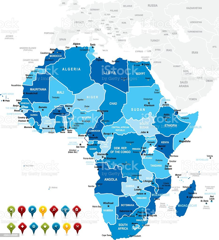Africa Map vector art illustration