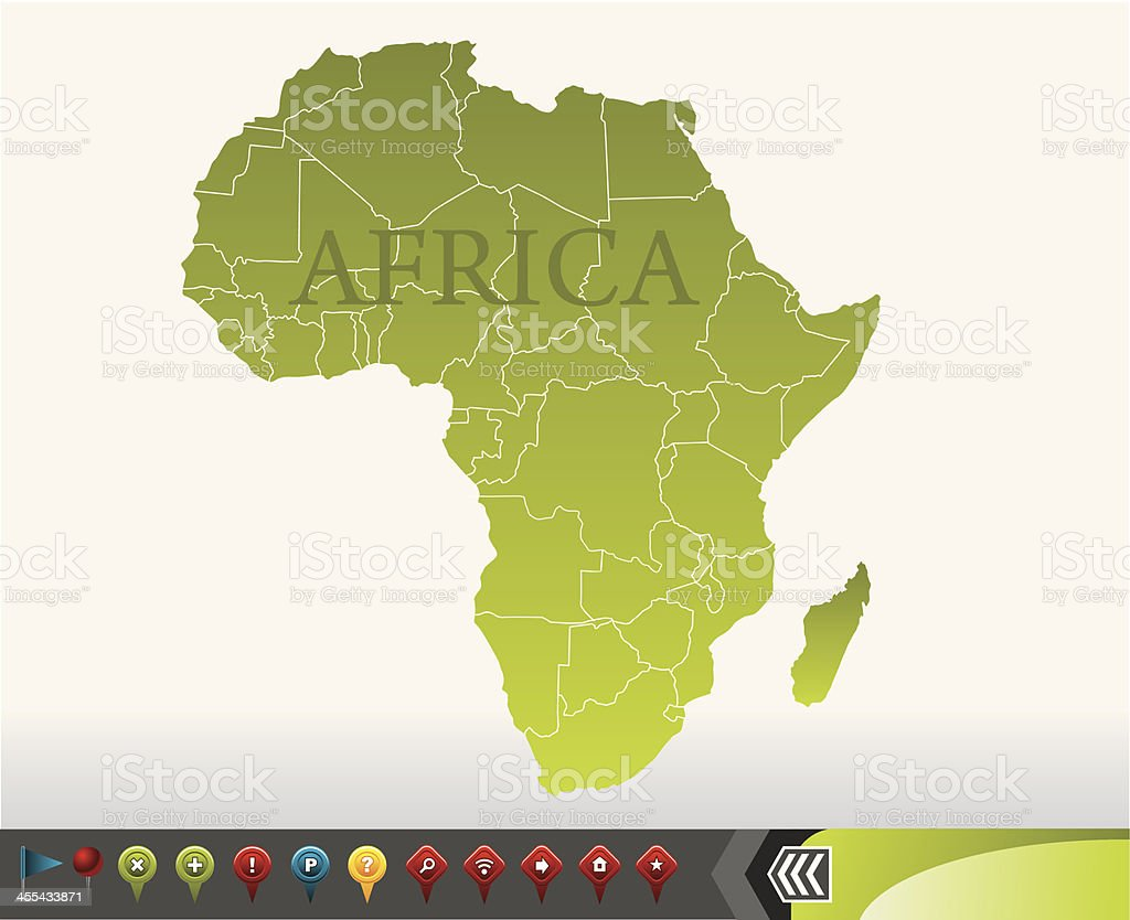Africa map with navigation icons royalty-free stock vector art