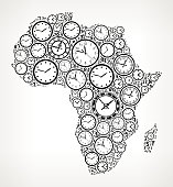 Africa on Time and Clock Vector Icon Pattern