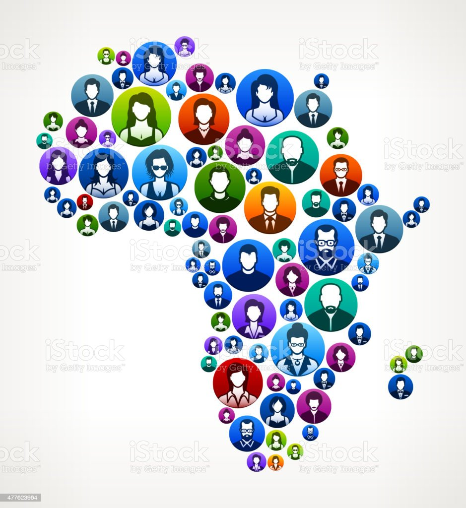 Africa People Faces Community and Communication Pattern. vector art illustration