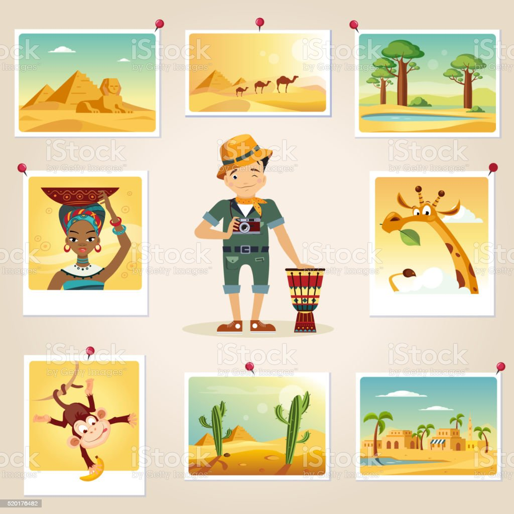 Africa Photographer Surrounded By Photos vector art illustration