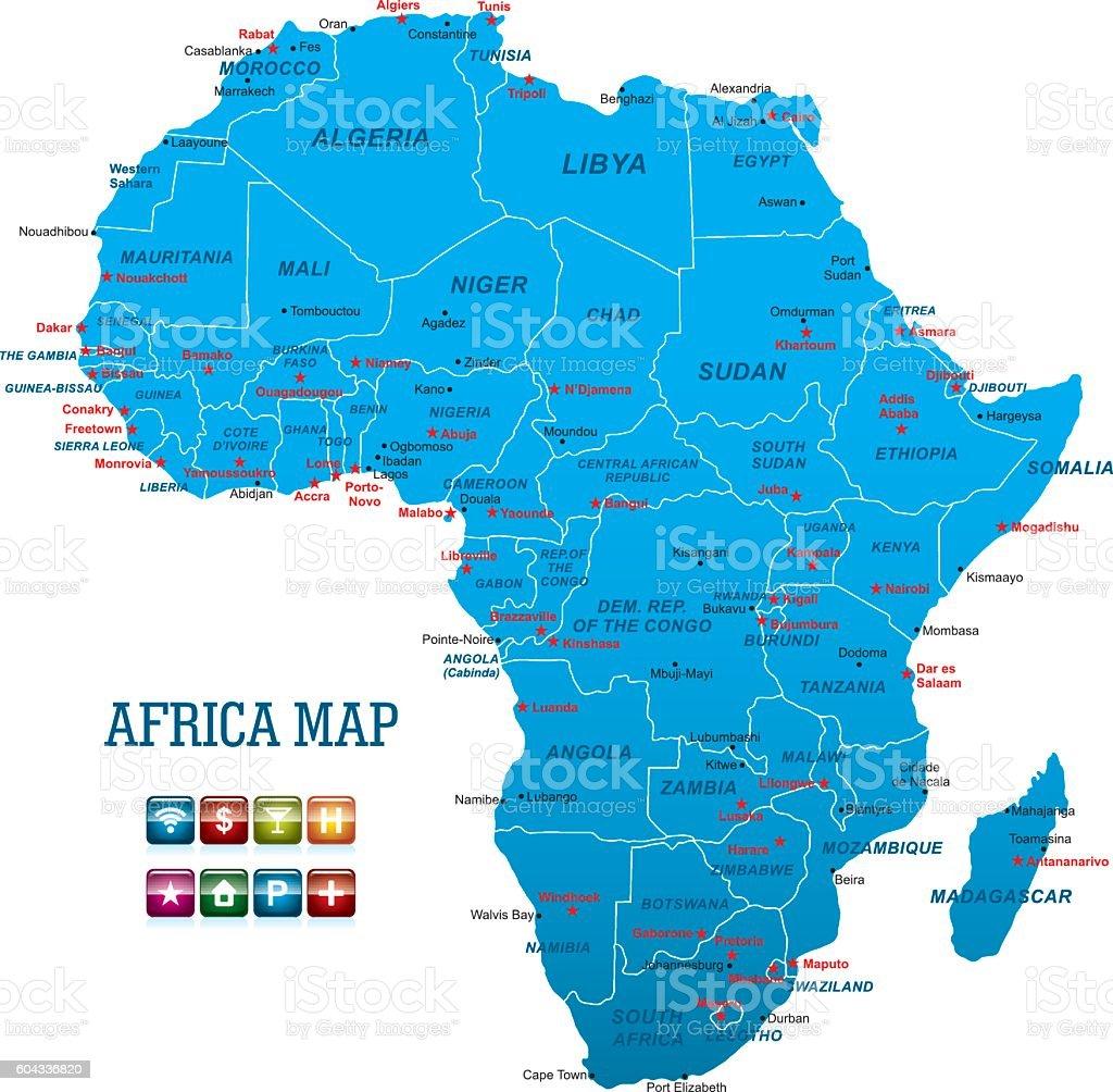 Africa Vector Map vector art illustration
