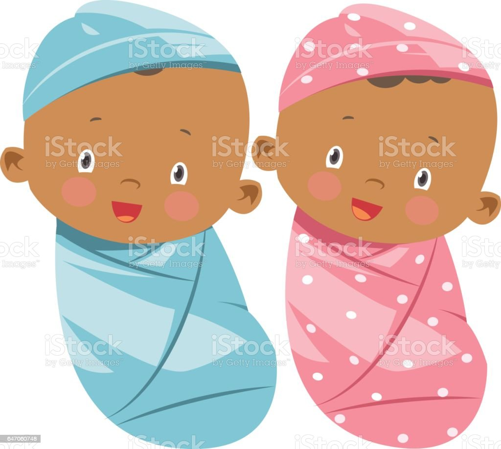 African American baby girl and boy vector art illustration