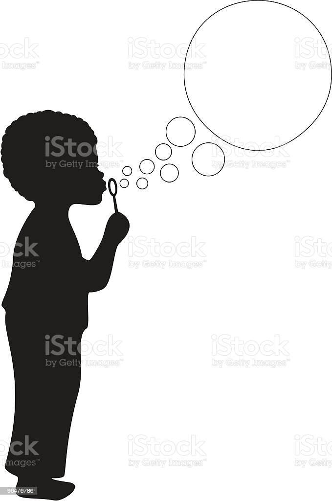 African American Boy Blowing Bubbles royalty-free stock vector art