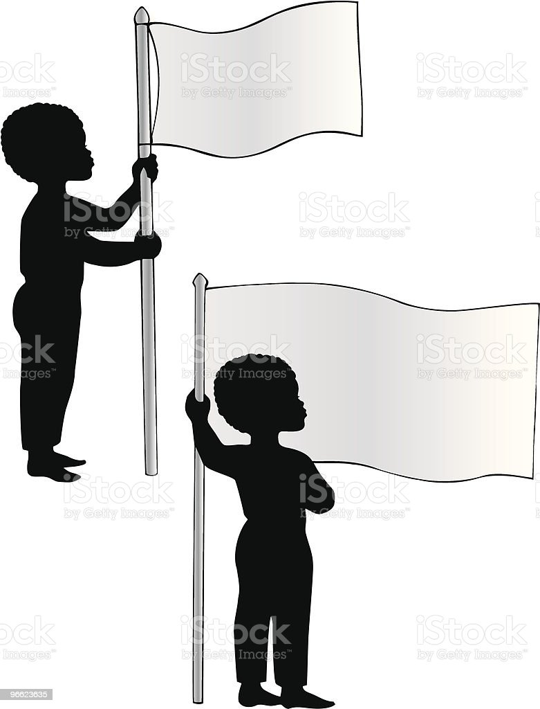 African American Boys with Flags vector art illustration