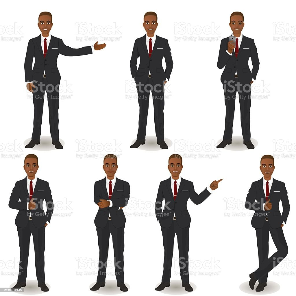 African American Business Men vector art illustration