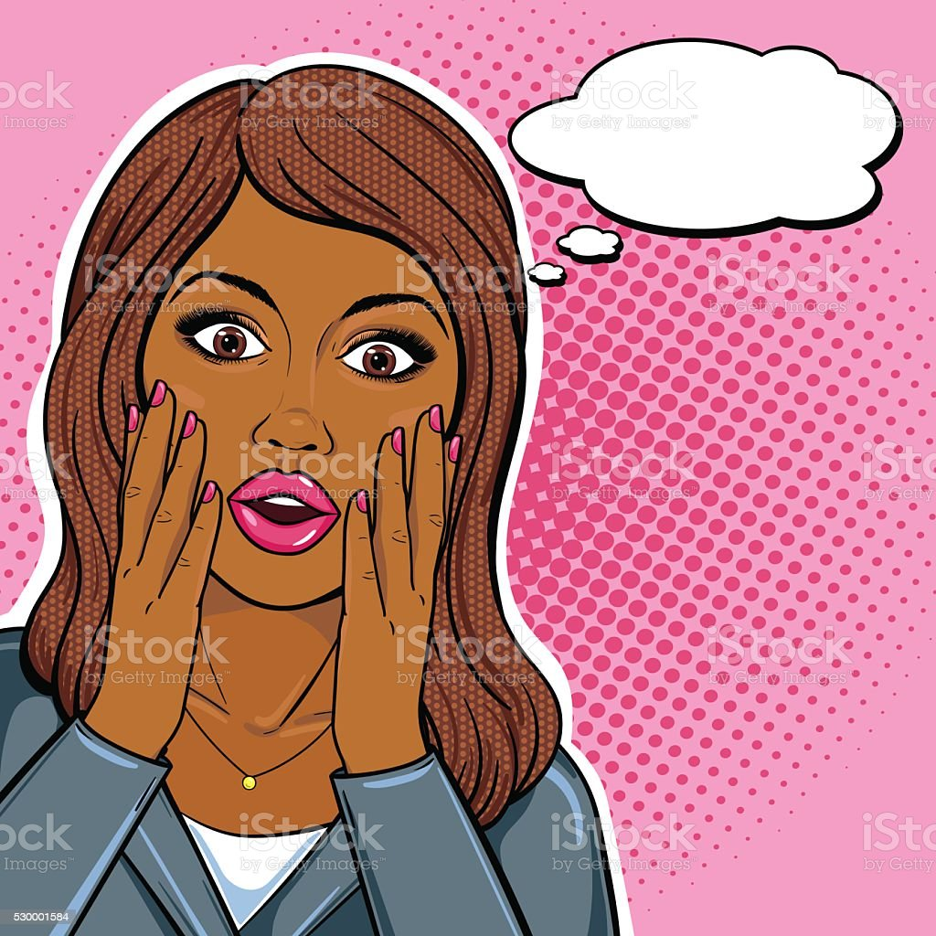 African american business woman shocked face with thought bubble vector art illustration